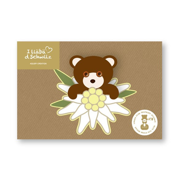 Greeting card Bear & Edelweiss