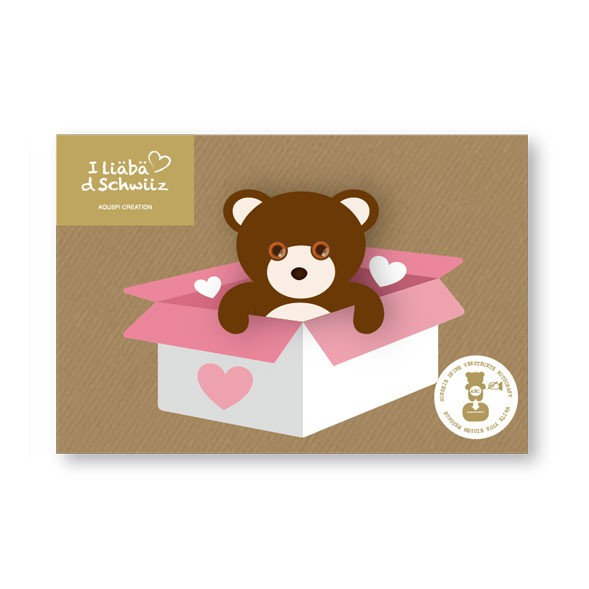 Greeting card Bear & Heart box