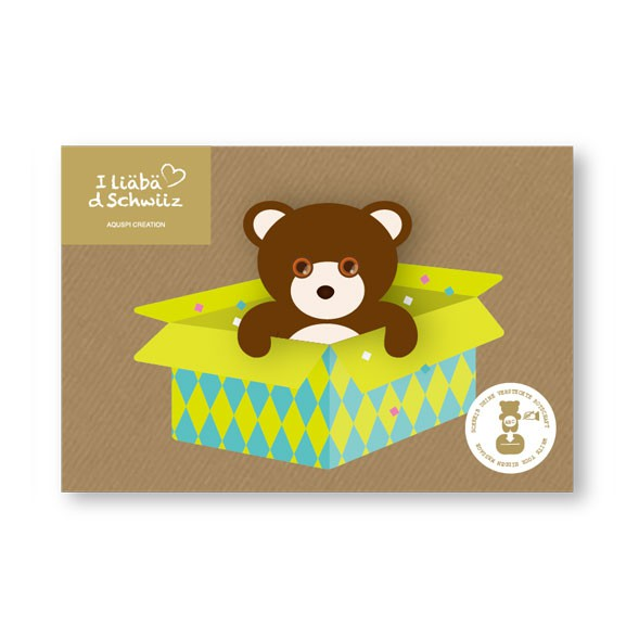 Greeting card Bear & Carnaval box