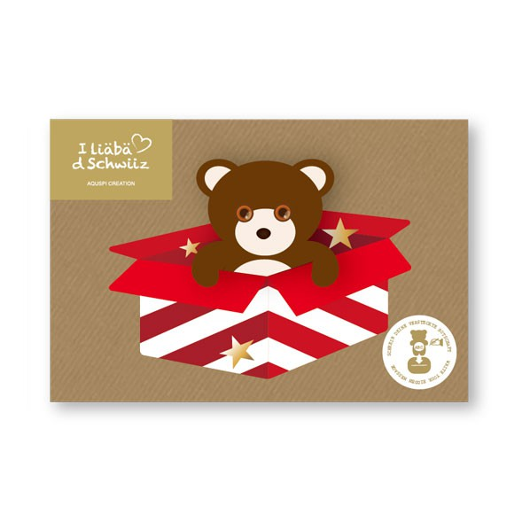 Greeting card Bear & Party Box