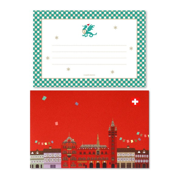 Basel Greeting Card - Basel Basilisk Xmas