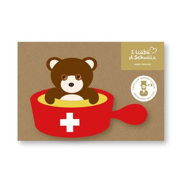 Greeting card Bear & Cheese Fondue