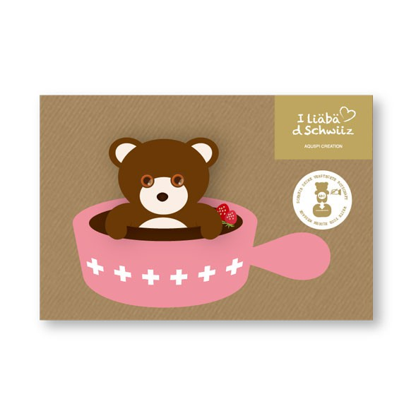Greeting card Bear & Chocolate Fondue